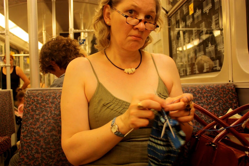 Knitting on the U-Bahn